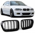 Grile duble M look  BMW 3er E46 Limo Touring (98-01) negru lucios